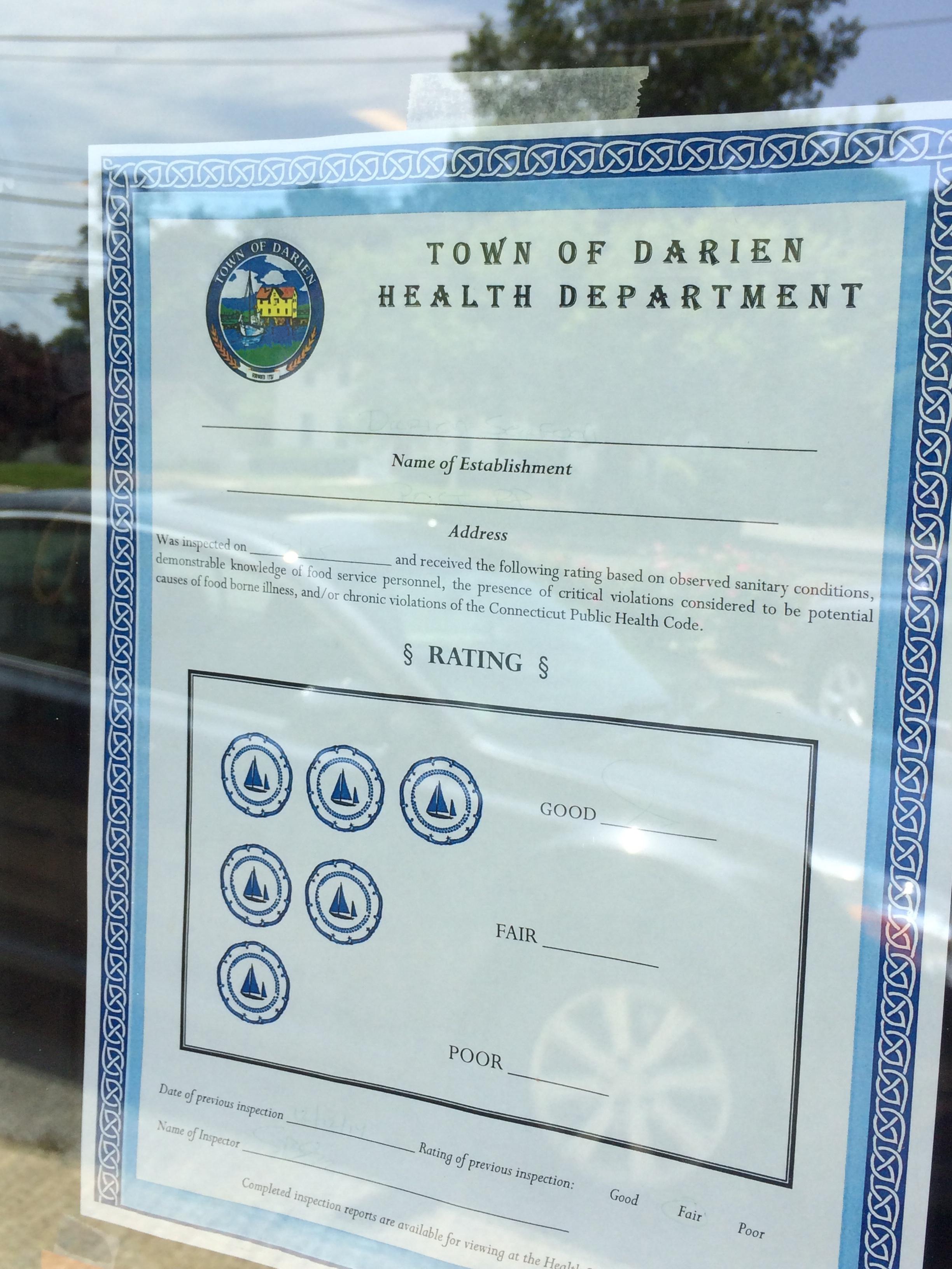 darien restaurant health inspection reports past three months