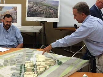 David Genovese of Baywater Properties making a point about his project to develop the Post Road/Corbin Drive/Interstate 95 triangle downtown.