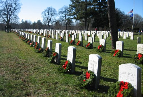 Wreaths Across America wreath-laying at Spring Grove Cemetery in a past year (picture from the Darien Chamber of Commerce website)