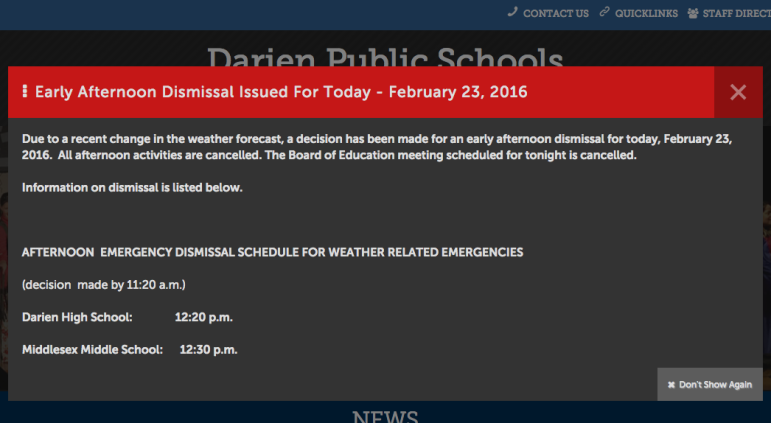 The top part of Darien Public Schools' early-dismissal announcement for Tuesday, Feb. 23, 2016