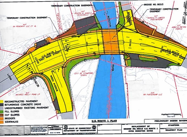 A map from a state Department of Transportation document posted in 2014 on the Darien town government website showing the extent of the project.