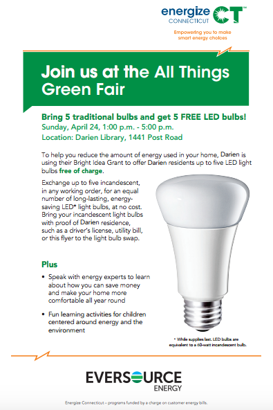 poster all things green event lightbulb exchange 4-18-16