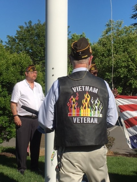 Kraft, a Vietnam Veteran, during the ceremony.