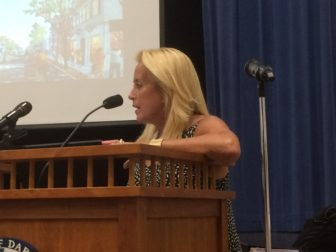 Erica Jensen, owner of the Helen Ainson store, spoke Tuesday to the P&Z Commission.