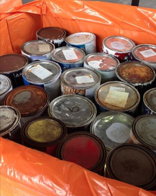Paint cans Darien Recycling Center photo 6-7-16