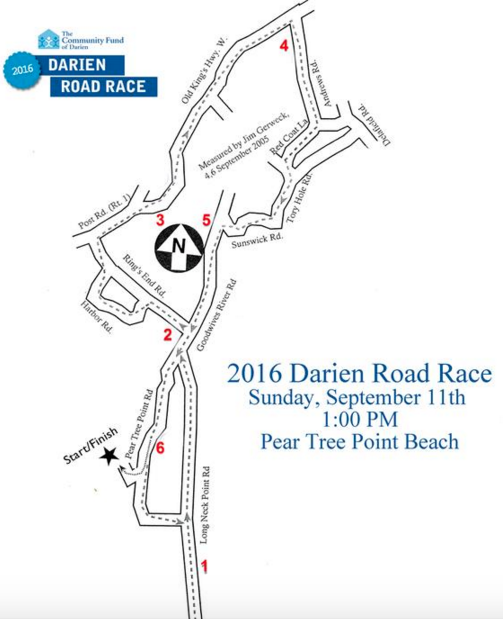 2016 Darien Road Race map 8-26-16