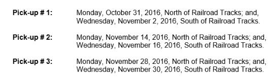 Leaf pickup schedule 9-13-16