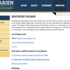 Resources Tool Box web page Darien Police Department 9-14-16