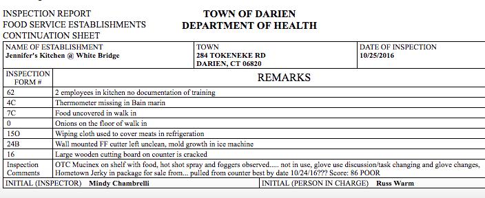 Restaurant inspector's remarks Darien Health Dept 911-4-16