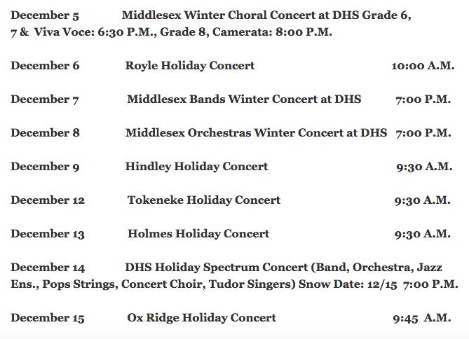 Holiday concert schedule Darien Music Department 912-06-16