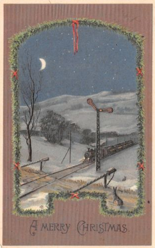 Christmas postcard train winter 912-20-16