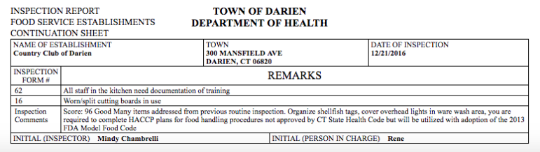 Dec. 21 reinspection Country Club of Darien 912-23-16