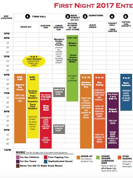 Westport First Night schedule part one 912-26-16
