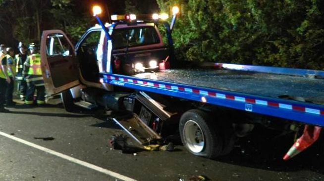 Tow Truck Hit Westport cops photo via AAA Northeast 02-10-17