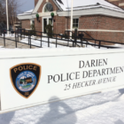 Police Snow Darien Police Sign Winter 03-22-17