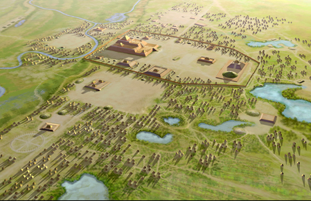 Cahokia model Heironymous Rowe Wikimedia Commons 03-05-17 https://commons.wikimedia.org/wiki/File:Cahokia_Aerial_HRoe_2015.jpg