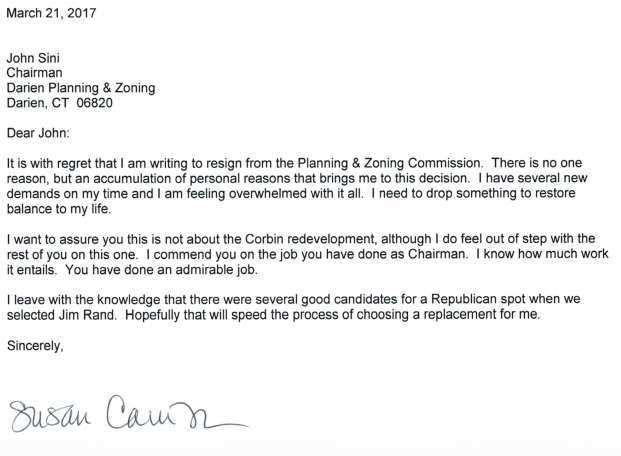Susan Cameron Planning & Zoning Commission resignation letter 03-21-17