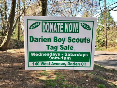 Scout Sale Sign 2017 Darien Recycling Center 04-28-17