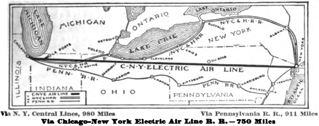 Map Air Line Railroad https://en.wikipedia.org/wiki/Chicago_%E2%80%93_New_York_Electric_Air_Line_Railroad