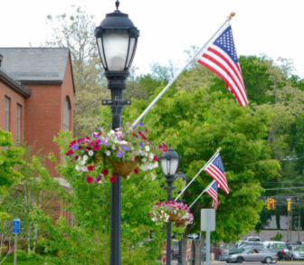 Flags on lampposts in Darien 06-14-17