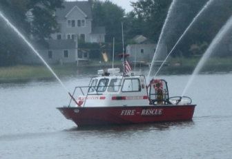 Noroton Fire Department rescue boat sprays 05-22-17