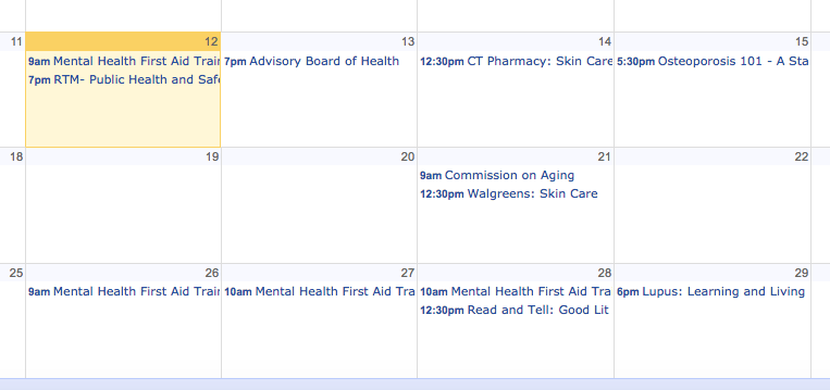 Health Department Community Health Calendar Google 06-12-17