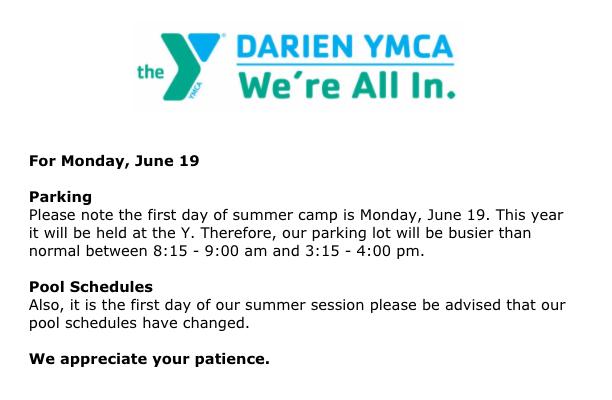 Darien YMCA announcement for June 19 2017