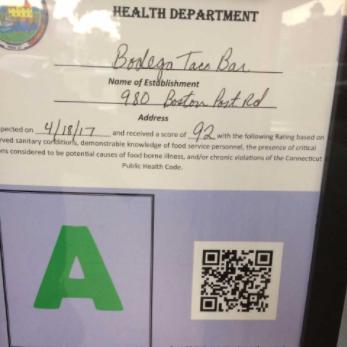 Health Inspection Certificate Bodega 07-07-17