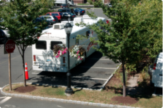 Red Cross blood donation bus at Darien Library 07-26-17