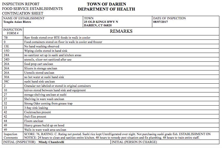 Health inspection Tengda Asian Bistro 08-17-17