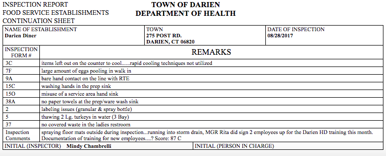 Darien Diner health inspection report Aug 28 09-10-17