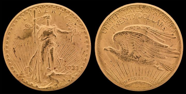 Double Eagle 09-24-17 https://en.wikipedia.org/wiki/1933_double_eagle#/media/File:NNC-US-1933-G$20-Saint_Gaudens.jpg