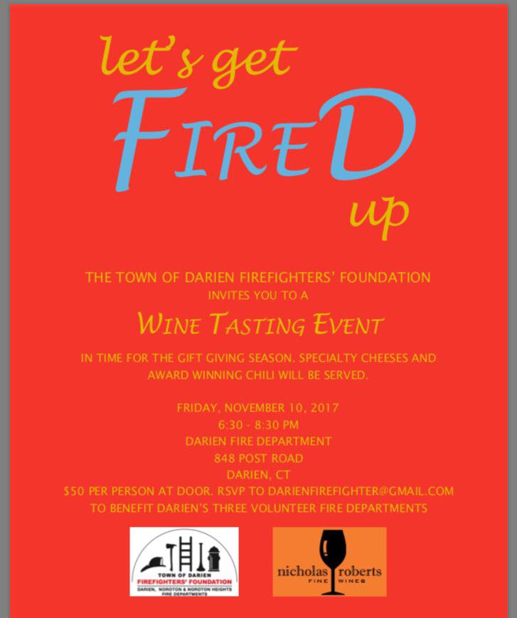 Poster Wine tasting fundraiser Darien Firefighters Foundation 10-24-17