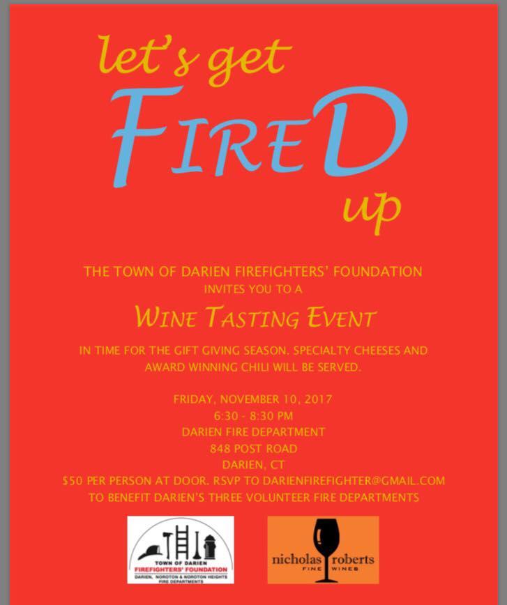 Poster Wine tasting fundraiser Darien Firefighters Foundation 10-24-17