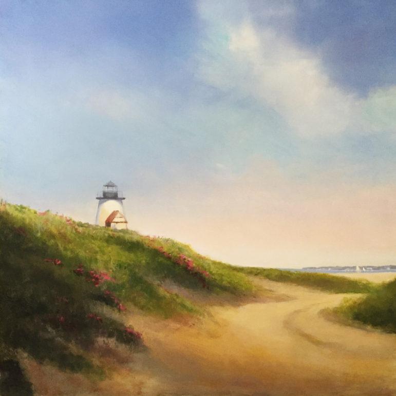 Island Lighthouse Painting by Dana Goodfellow Rowayton AC 11-16-17