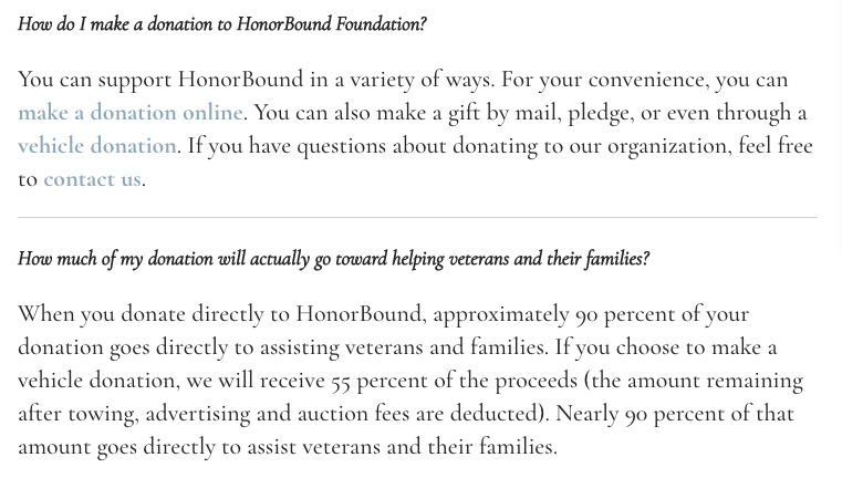 HonorBound Foundation FAQ 11-11-17