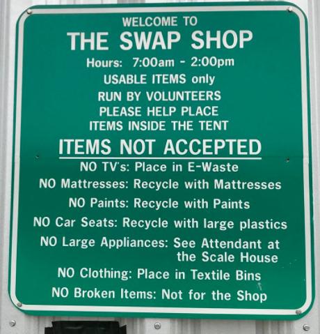 Swap Shop Rules Sign 11-11-17