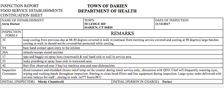 Atria Darien health inspection 11-16-17