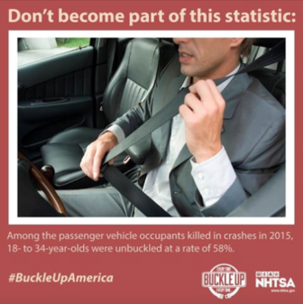 NHTSA seat belt click it or ticket 11-18-17