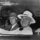 Harry Truman behind the wheel driving