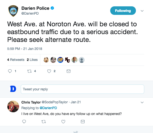 Darien Police tweet wilkos accident jan twenty-four 'eighteen