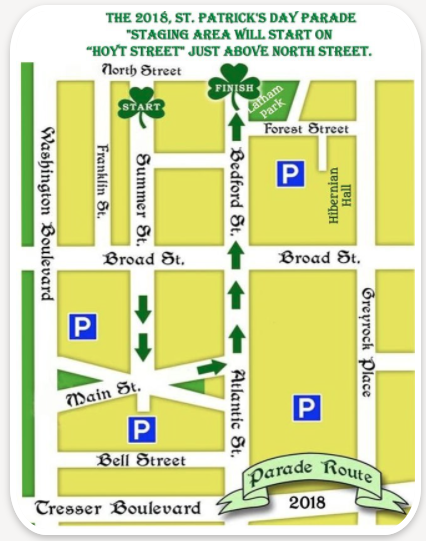 Stamford St Patrick's Day parade route 2018