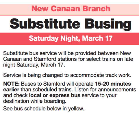 Metro-North New Canaan Branch announcement