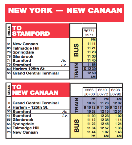 Timetable Buses New Canaan Branch