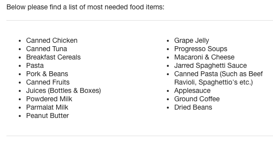 Most needed foods for food drive Roost 2018