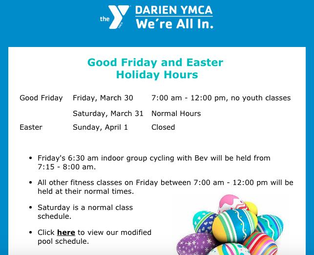 Easter Weekend 2018 Darien YMCA