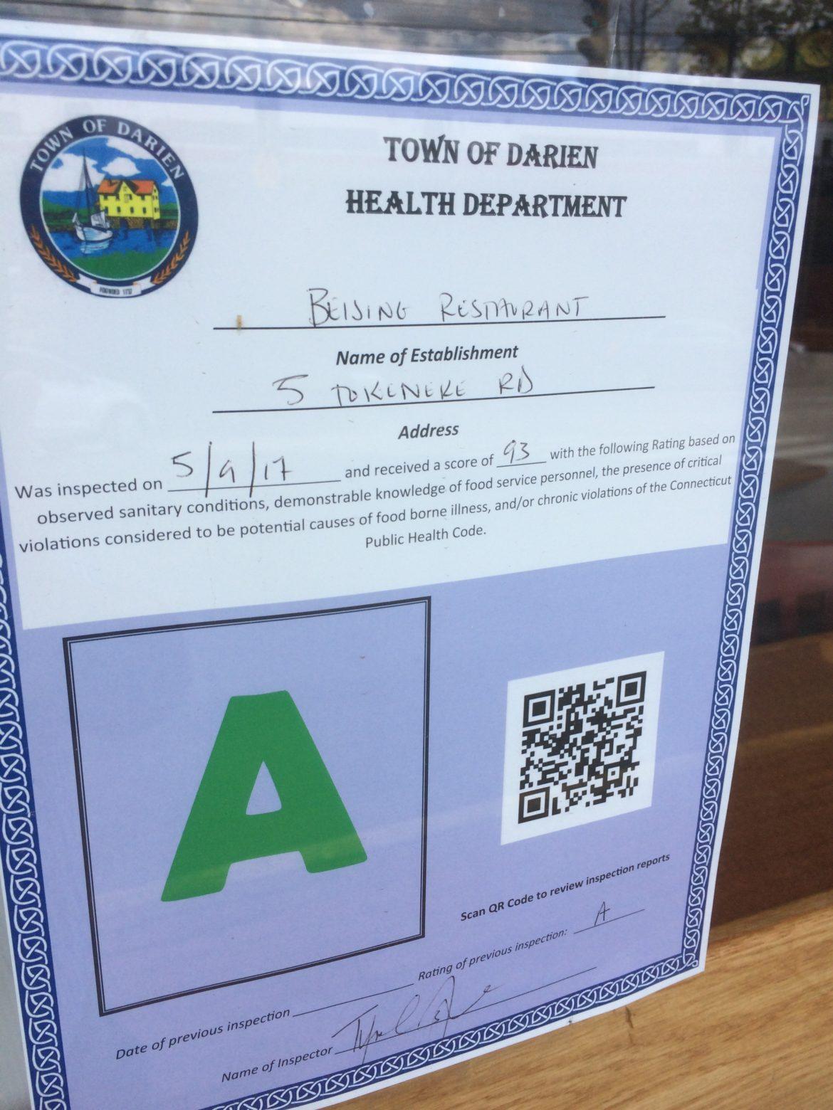 Darien Health Department Inspection Ratings