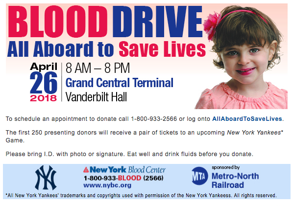 Blood drive April twenty eighteen Grand Central