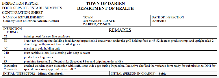 Inspection report CC of Darien satellite kitchen