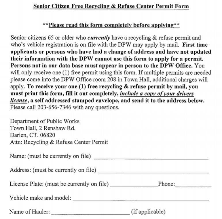 Senior Free Permit for Transfer Station Dump Recycling Center